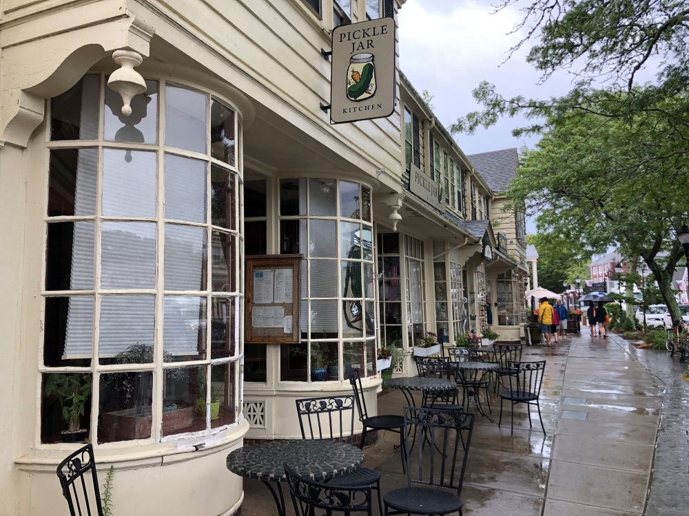 The exterior of the Pickle Jar Restaurant in Falmouth