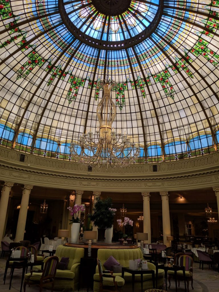 A vibrant colored dome in the Westin Palace hotel in Madrid.