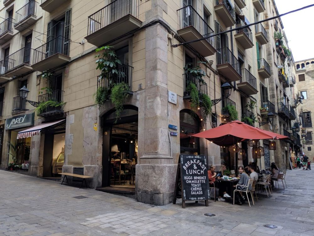 A restaurant in the Gothic Quarter of Barcelona.