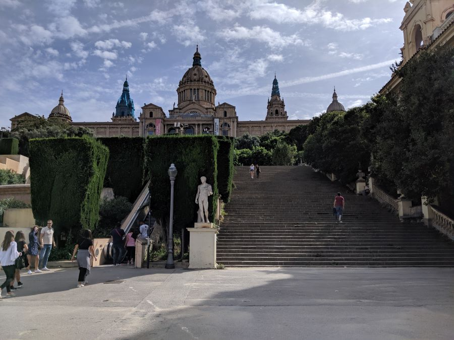 The stairs leading to Montjuic in Barcelona.