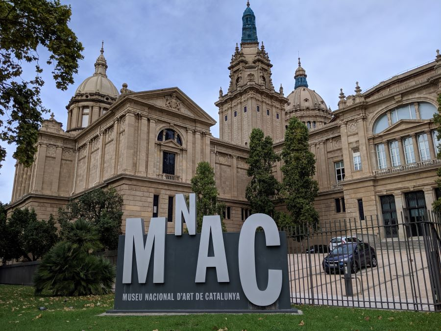 The exterior of a history museum in Montjuic of Barcelona.