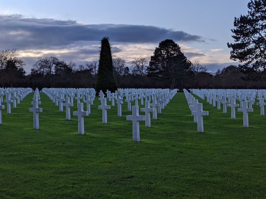Hundreds of white crosses at the American Cemetery in Normandy France
