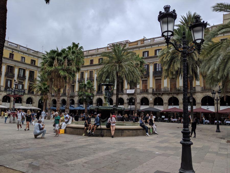 A square in Barcelona city center