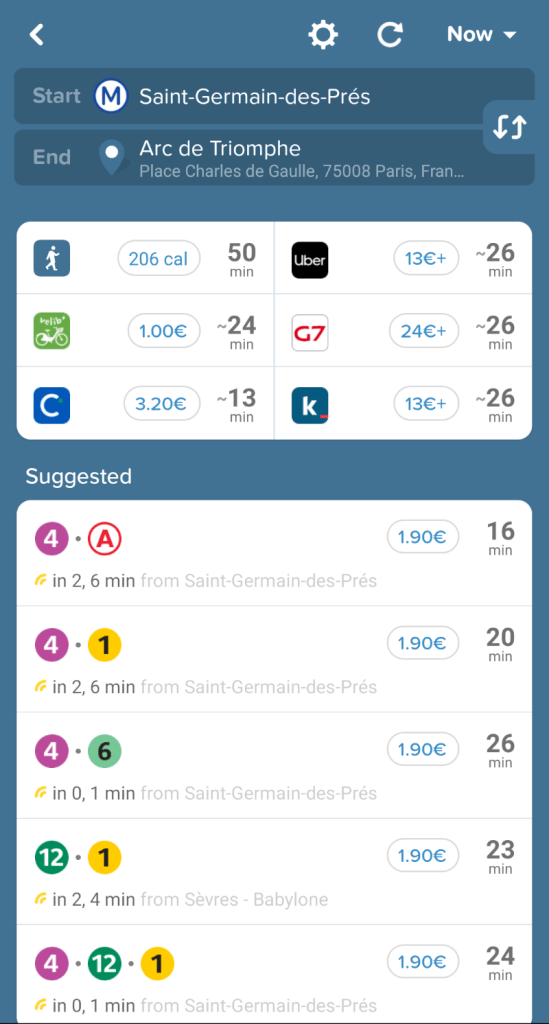 A screenshot from a GPS app of directions for getting around Paris using public transportation.