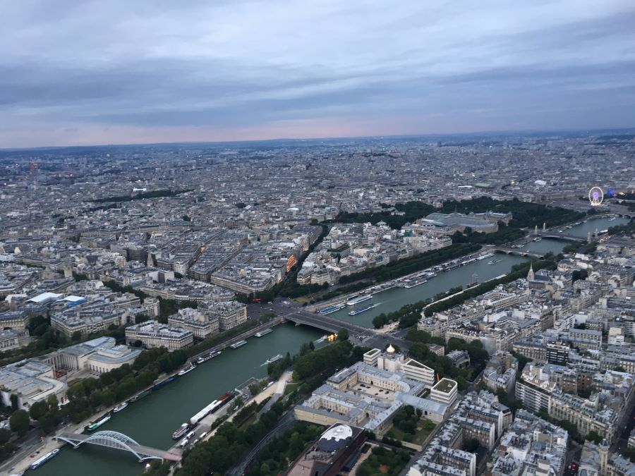 The view from the Eiffel Tower  during the day is of buildings, the Seine River and bridges.