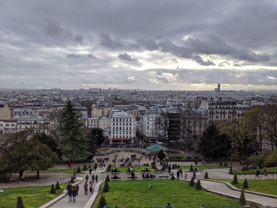A view of the city of Paris (buildings, roads) from the top of the Sacre-Coeur.
