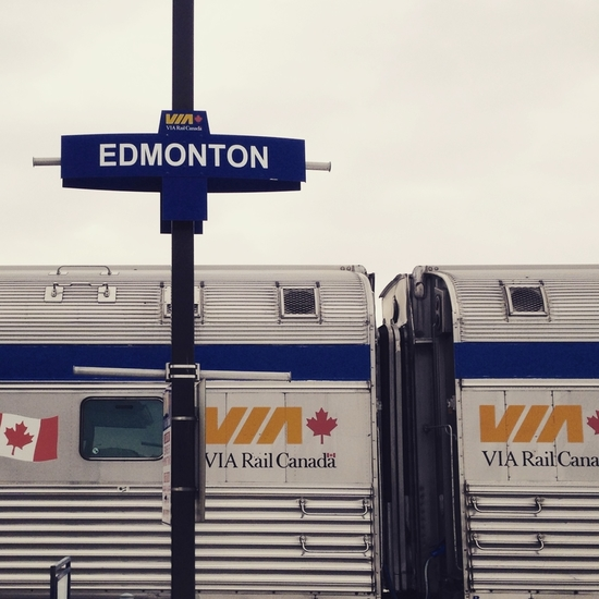 Take Via Rail to Edmonton - trains travel to YEG from Toronto and Vancouver and all points in between.