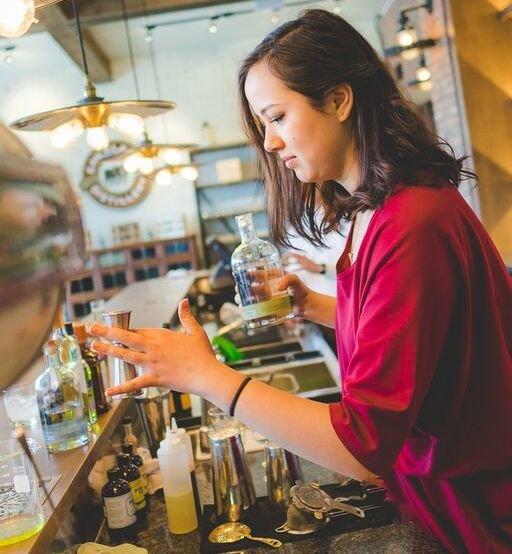 Elizabeth Yu makes an Ianco Bijou at the Eau Claier Distillery south of Calgary.