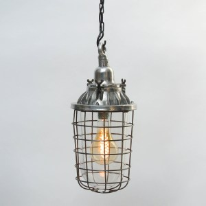 Ceiling lamp, Glass Globe with Squared Fence Anciellitude