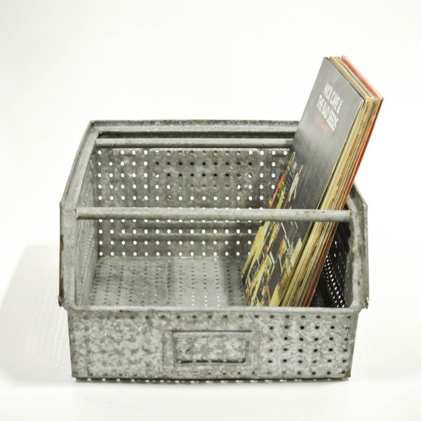 Large Galvanized, Perforated Metallic Crate (Varnished) anciellitude