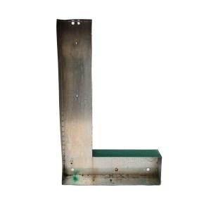 Grande lettre L (maj) verte en métal vintage anciellitude
