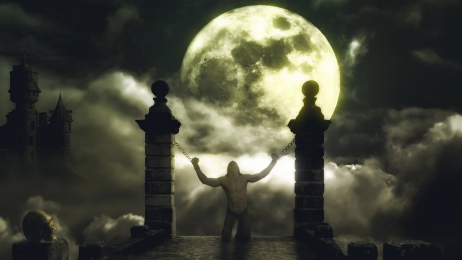 Vampire chained in front of the moon