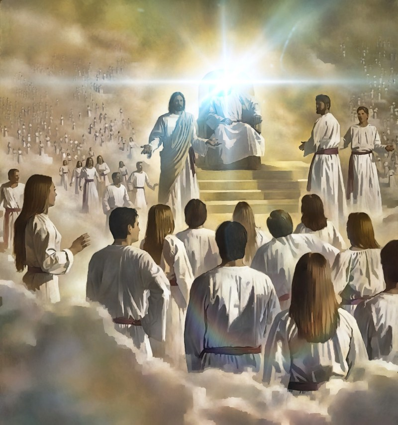 God sitting on Throne, face hidden with bright light and surrounded by angels.