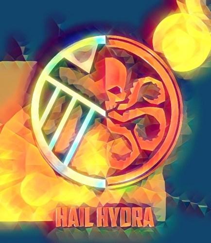Hydra symbol, half eagle/half skull