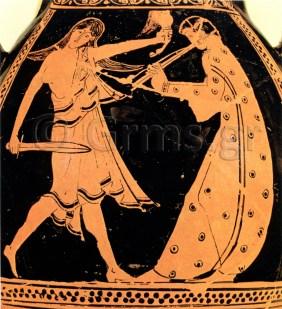 Εικ. 2. Berlin, Antikensammlung 3223, π. 450 πΧ. Σκηνή τραγωδίας: μαινάς και αυλητής.
