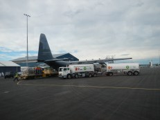 Cargo being loaded onto the C130 military aircraft that took us to the ice.