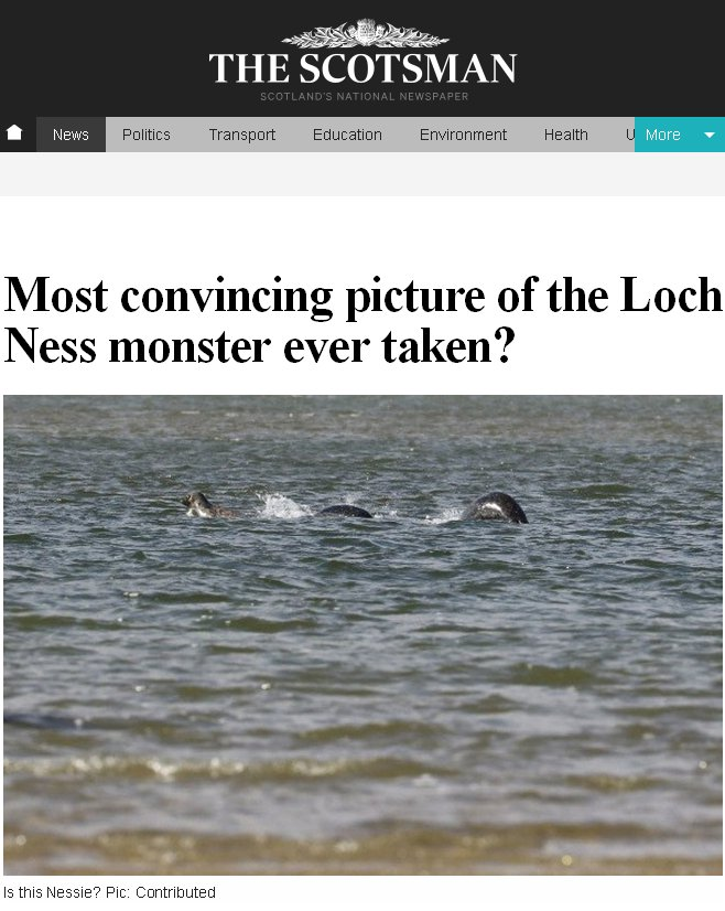 Latest Most Convincing Photo of Nessie the Plesiosaur of Loch Ness