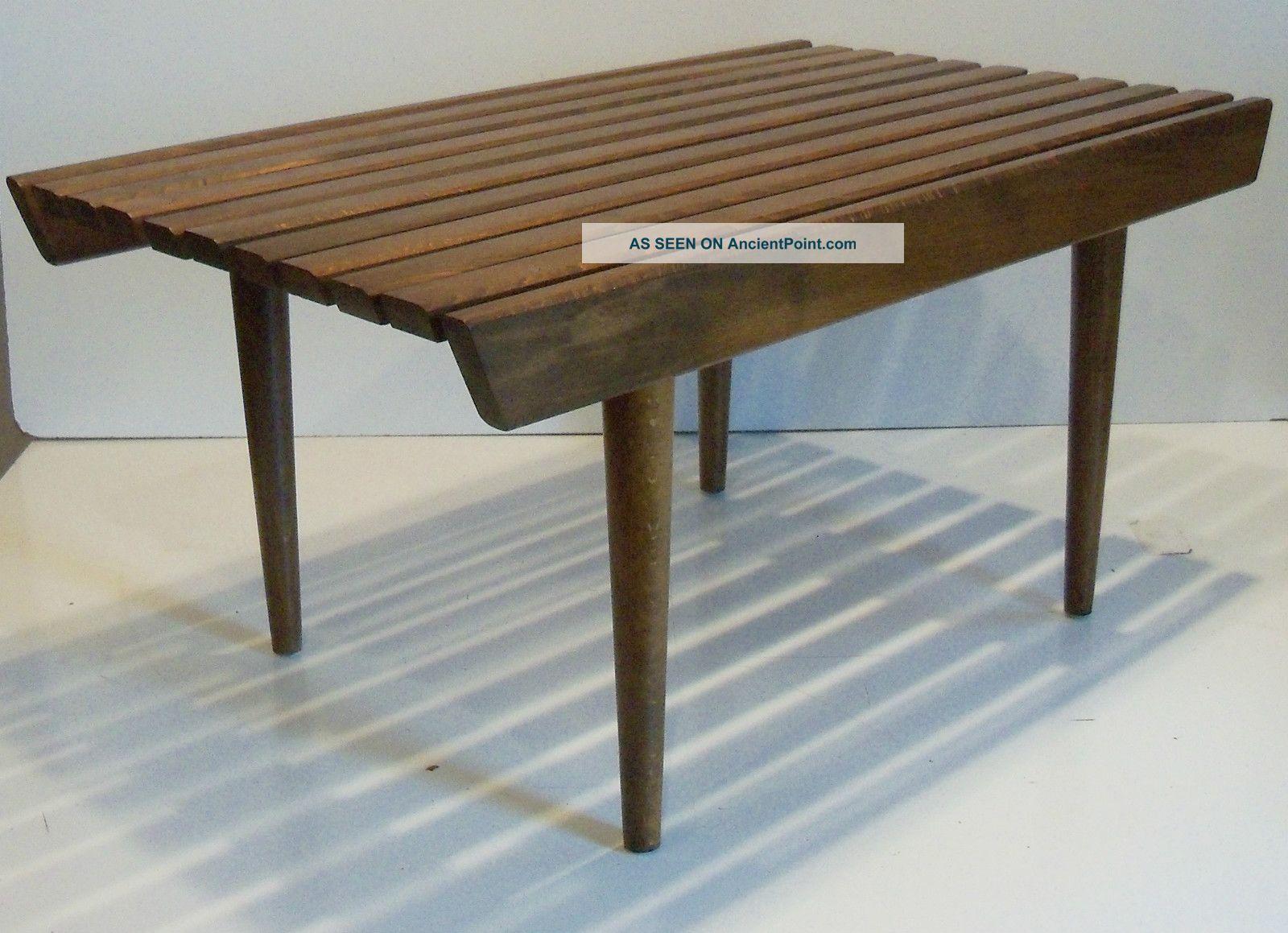 Vintage Eames Era Mid Century Danish Modern Wooden Slat