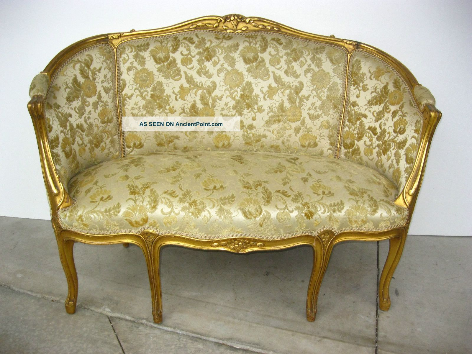 Vintage French Provincial Style Gold Gilt Gold Floral Velvet Fabric Settee Sofa
