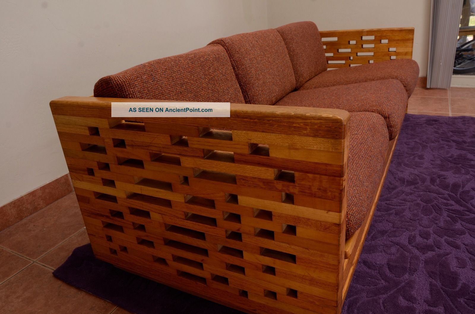 Mid Century Modern Couch And Loveseat Natural Wood 70s