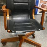 Asher Benjamin Studio Black Leather Wood Wheels Office Chair Mid Century Modern