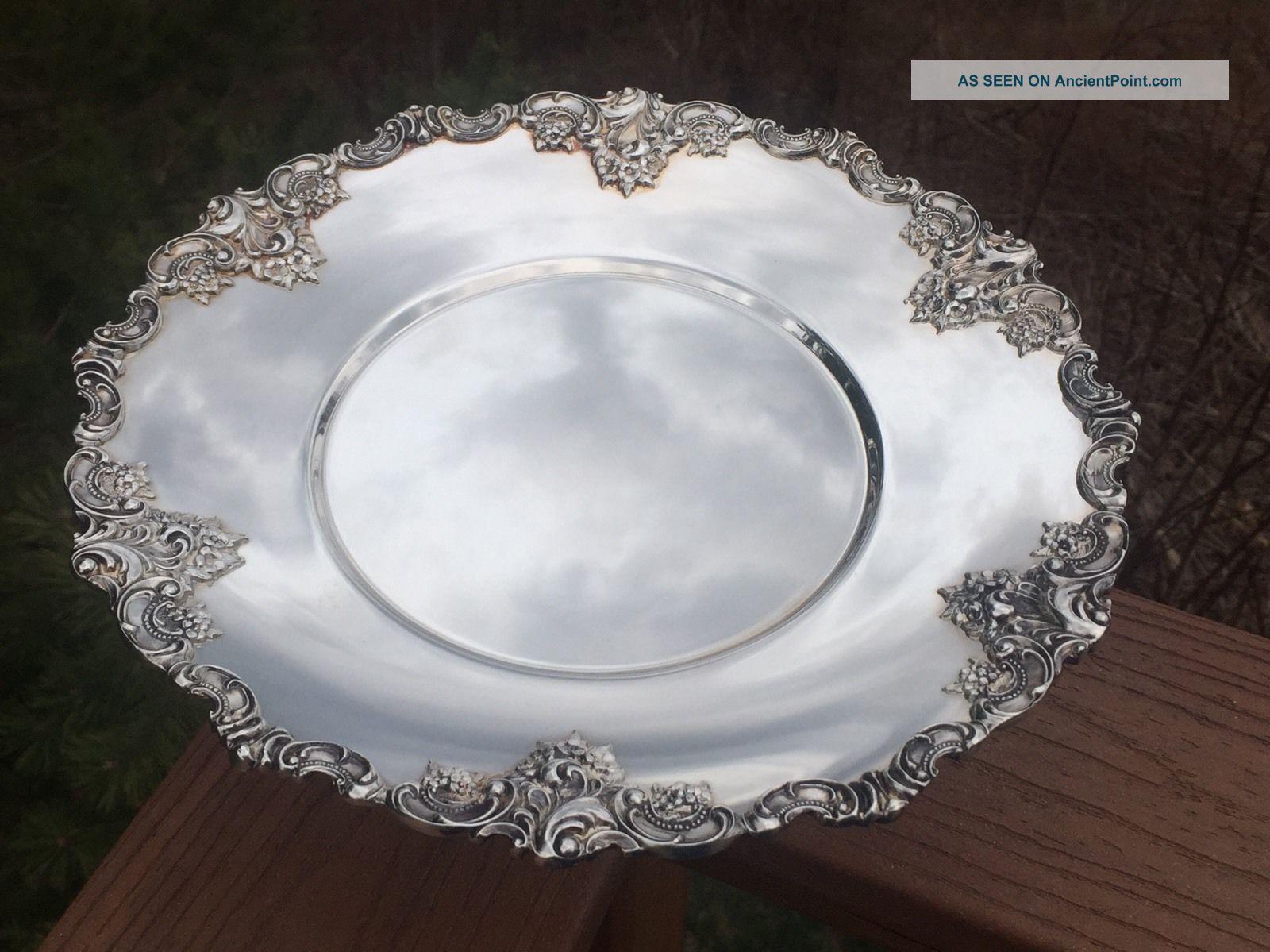 Vintage Wallace Baroque Silverplate Pedestal Plate Cake
