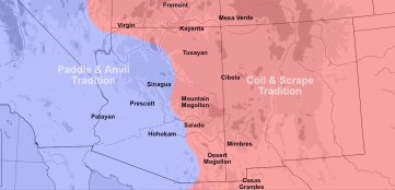 Southwest pottery traditions and technology map