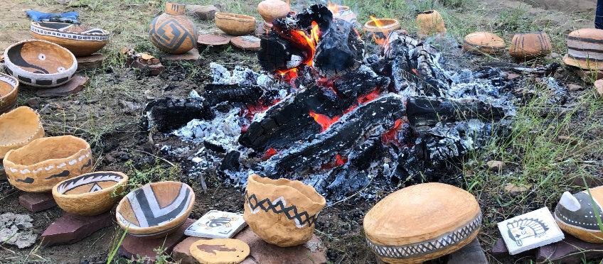 A primitive pottery firing