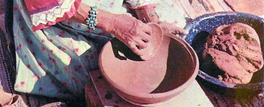Maria Martinez hand building a clay pot