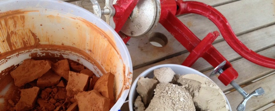 natural clay and a grinder ready to process clay
