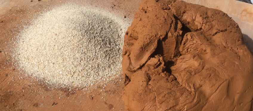 temper and clay ready to be mixed together