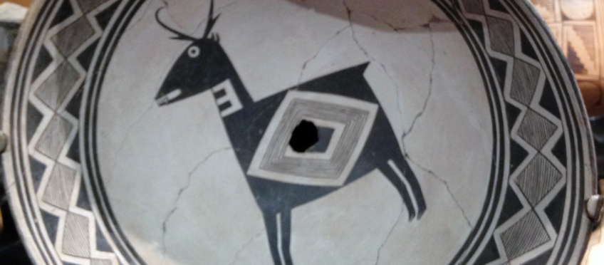 Mimbres coil pottery bowl depicting a Pronghorn.