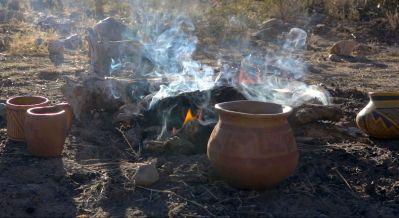 outdoor pottery firing