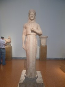 A statue of an archaic Kore, National archaic museum, Athens