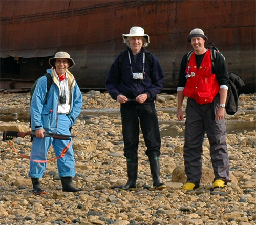 """A typically scruffy paleontology field crew visits the Ithica.  L-R are Pete Fenton, me, and Norm Aime (perhaps you can understand why the people at the Churchill Northern Studies Centre called us """"the guys with the funny hats"""")."""