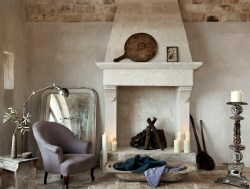 Antique Limestone Fireplace