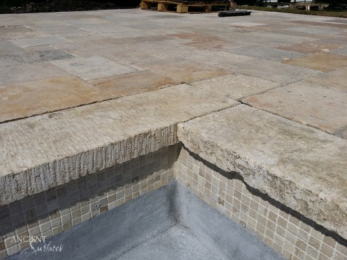 Antique limestone pool coping stone slabs