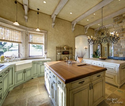 Farmhouse-kitchen-limestone-flooring-light-style-kitchen-island