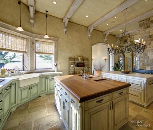 Farmhouse-kitchen-limestone-flooring-light-style-kitchen-island