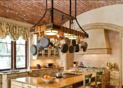 farmhouse-kitchen-marble-kitche-island-wooden-ladder-pot-rack