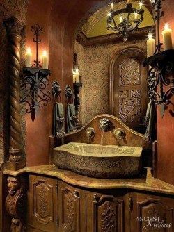 gothic-style-powder-room-with-a-majestic-reclaimed-hand-carved-limestone-sink
