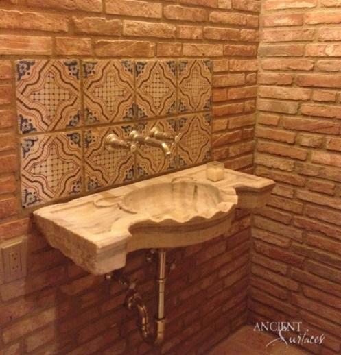 midcentury-bathroom-limestone-antique-sinks