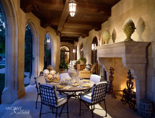 Outdoor patio limestone fireplace
