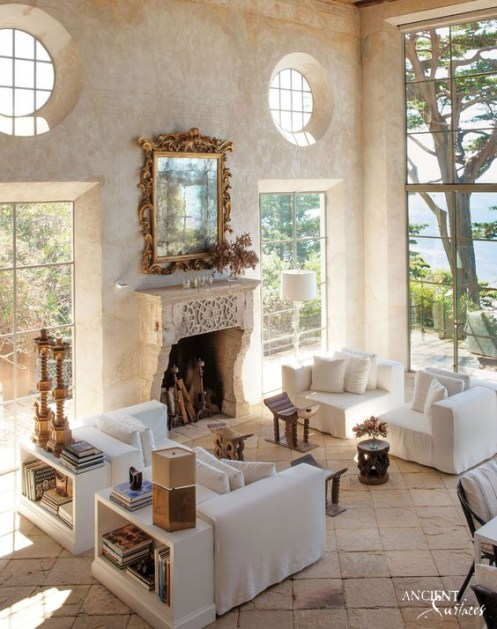 Antique-limestone-fireplace-with-antique-stone-floor