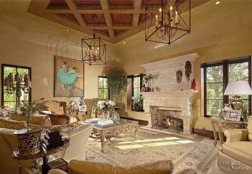 frech-farmhouse-living-area-with-antique-limestone-fireplace