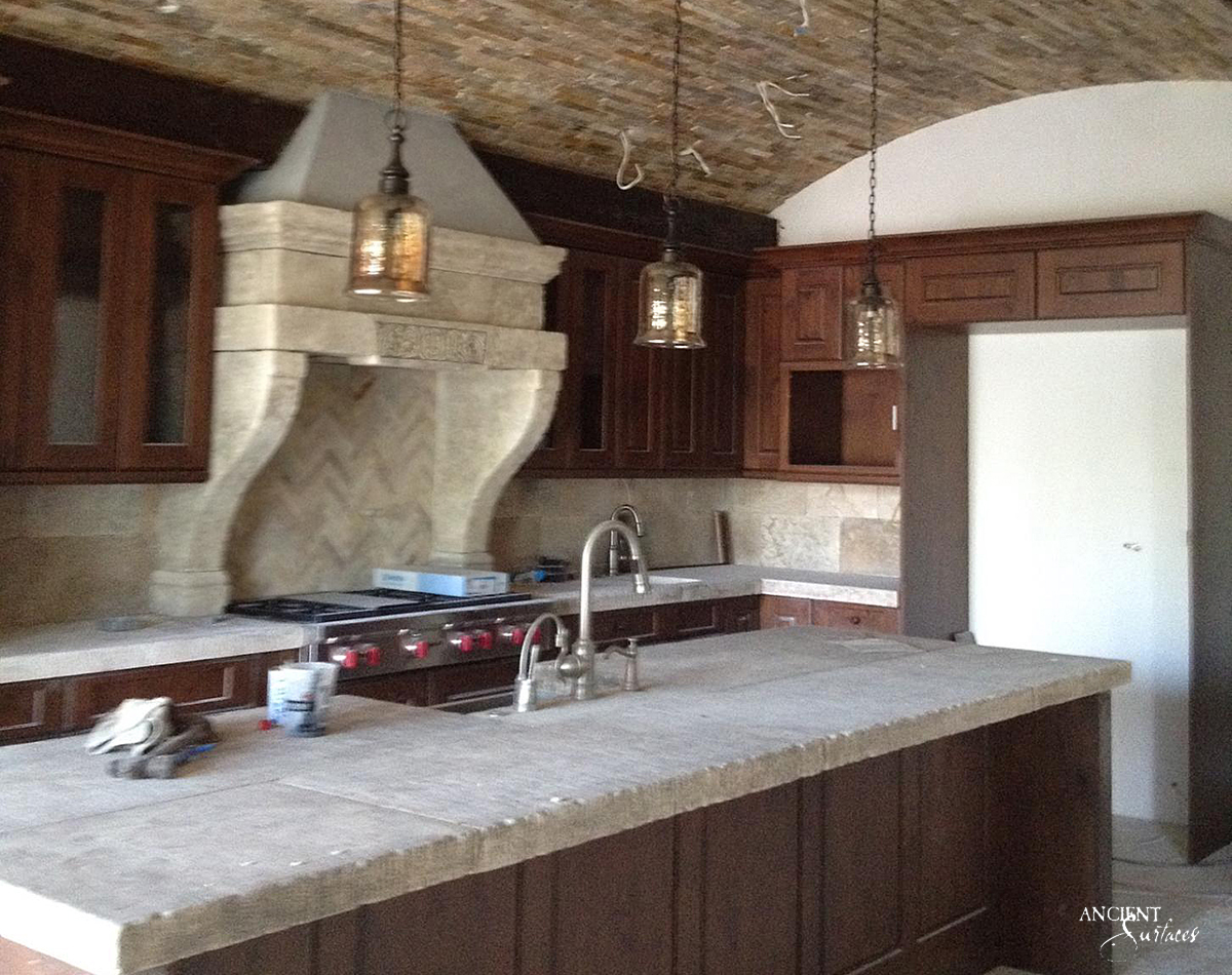 ... Limestone Kitchen Countertop With Antique Stone Kitchen Hood