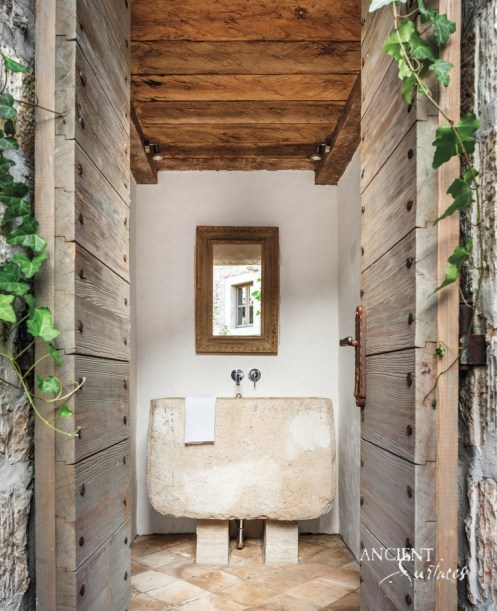 Original Reclaimed Limestone Trough Sink in Powder Room by Ancient Surfaces
