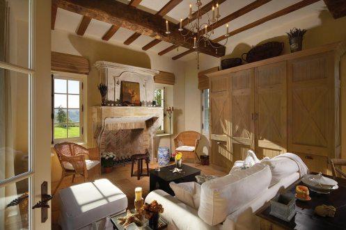 Beautiful room with limestone fireplace