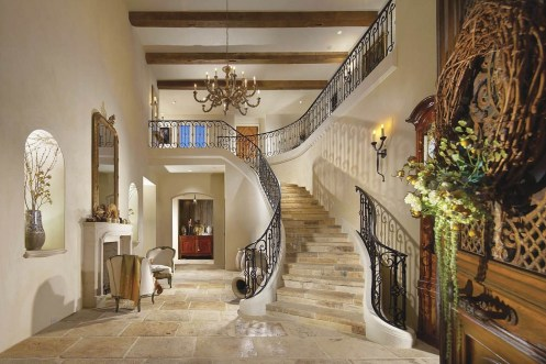Limestone flooring with limestone stairs
