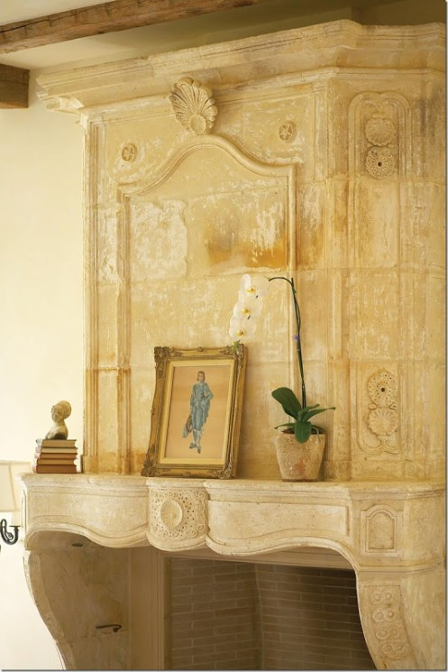 antique old limestone fireplace with over mantel